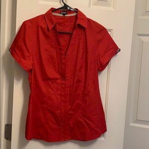 Short sleeve red button down shirt